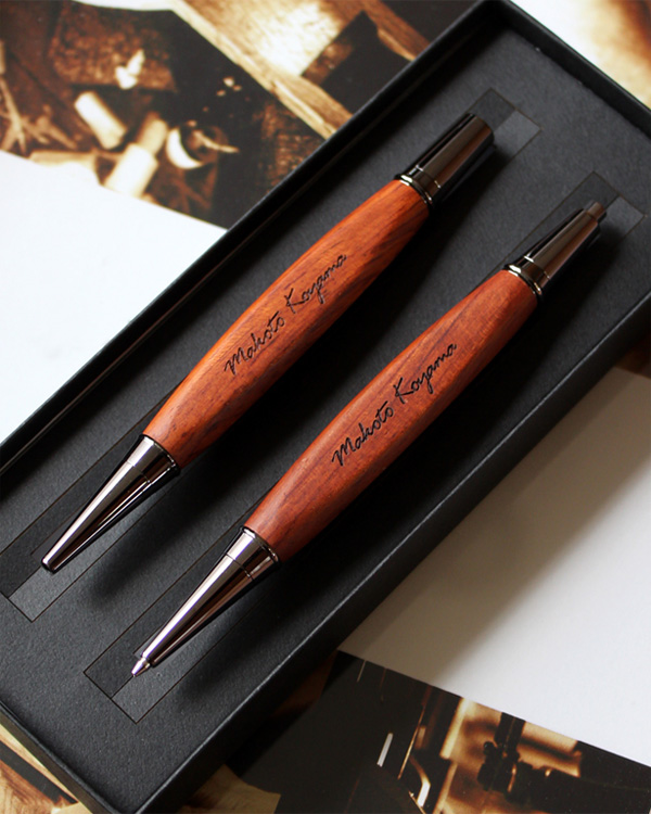 三角型木製ボールペン・シャープペンシル ギフトセット