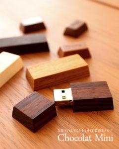 チョコレートのようにかわいい木製USBメモリ「Chocolat Mini」