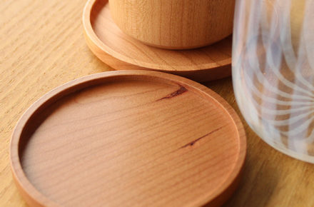 無垢材を使用した木製コースター Coaster -Round-