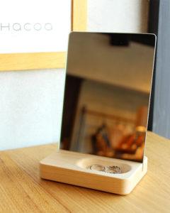 おしゃれなトレイ付き木製スタンドミラー「Stand Mirror Mini」