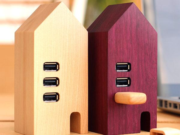 北欧の街並みを想像させる木製USBハブ「USB Hub House」