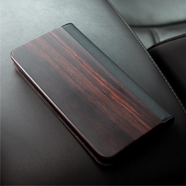 機種を選ばない手帳型の木製マルチスマートフォンケース(黒檀)