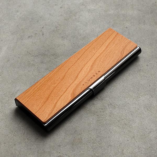 シンプルでおしゃれなデザイン、木とステンレスの筆箱。